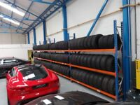 4 BAY TYRE STORAGE RACK RACKING. HEAVY DUTY. BRITISH MADE. 1120cm LONG x 247cm HIGH (36ft 9in x 8ft)