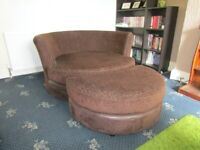 DFS BROWN SWIVEL CHAIR AND FOOT STOOL