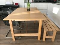 Scandi Contemporary Sold Wood Extending Dining Table, Bench and Chairs Ikea