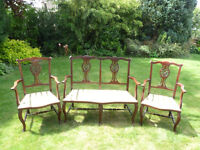 Edwardian mahogany three piece salon suite, Settee and 2 Armchairs