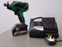 HITACHI 18v LI-ION IMPACT DRIVER KIT 1x 5ah, rapid charger