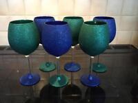 Set of 6 large Glittery Wine Glasses - Unused
