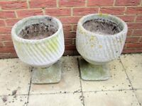 Pair of round stone garden pots on pedestals 20 years old good weathered condition 50 cm high