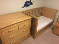 Mamas and Papas Ocean Range nursery furniture in oak - cot bed, drawers, toy box, shelves