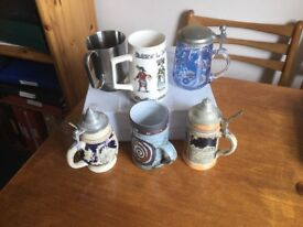 For beer mug collectors: set of 6 mugs of various designs