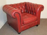 VINTAGE OXBLOOD RED LEATHER CHESTERFIELD CLUB ARMCHAIR FREE DELIVERY IN THE GLASGOW AREA