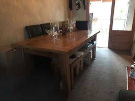Reclaimed oak dining table & bench with 4 brown leather chairs