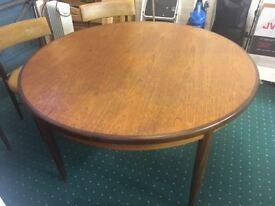 G plan extending teak dining table