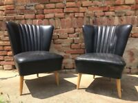 Set of 2 Black BARTHOLOMEW Chair 1950s Mid-Century Beautiful Seat Comfy