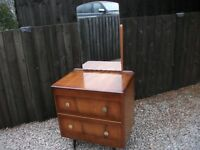 LOVELY SPLAYED LEGS ART DECO STYLE SMALL 2 x DRAWER DRESSING TABLE WITH SWIVEL MIRROR