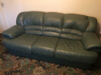 Leather three seater sofa and chair