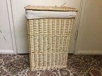 Wicker laundry basket with lid in good condition