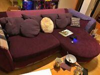 DFS 4 seater sofa chaise purple
