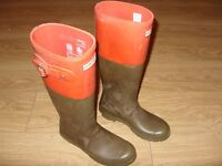 Hunter Wellies / Wellington Boots Olive Green / Orange - Size UK 5 / EUR 38 - Good Used Condition