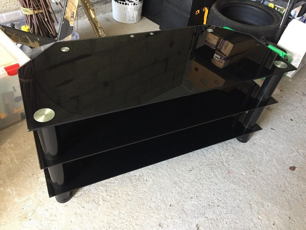Black glass and chrome large TV stand
