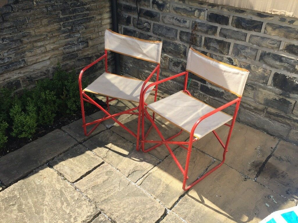 Pair of retro vintage camping or garden chairs huddersfield