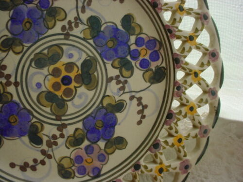 Hand Painted Bisque Plate Portugal Pierced Edge Martah Rosa Vtg