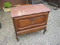 VINTAGE ORNATE VERSATILE CABINET. SHAPED TOP. PULL DOWN TOP CABINET,BOTTOM DRAWER. DELIVERY POSSIBLE