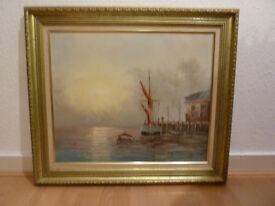 Framed Oil on Canvass Seascape Painting by L Alexis