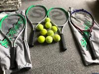 4x Slazenger tennis rackets and balls £20