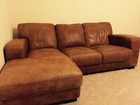 Beautiful DFS Caesar Left hand facing 3 seater with chaise end Leather Sofa