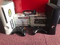 TWO XBOX 360 4GB Black & XBOX 360 White 8 Gb External Flash 15 games two controllers