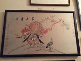 Vintage Silk embroidery NAFFI framed picture art
