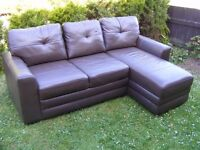 CAN DELIVER - VERY SPACEFUL DARK BROWN LEATHER CORNER SOFA WITH STORAGE IN VERY GOOD CONDITION