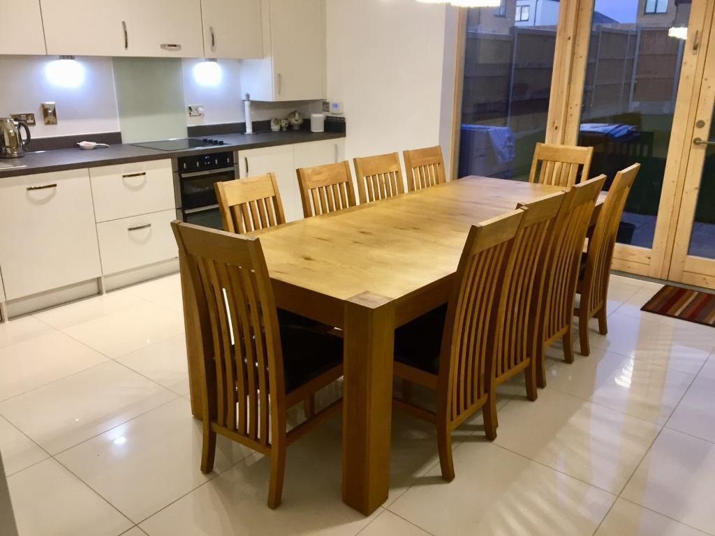 Amazing Extending Oak Dining Table With 10 Chairs In Harlow Essex Gumtree Ncnpc Chair Design For Home Ncnpcorg