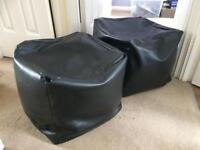 Two Square faux leather bean bags