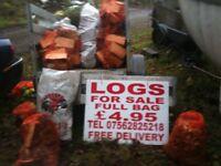 HARDWOOD LOGS FOR SALE £4.95 PER FULL BAG £49 FOR 10 FULL BAGS