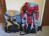 Two backpacks one with frame both have waterproof covers, used twice excellent condition.