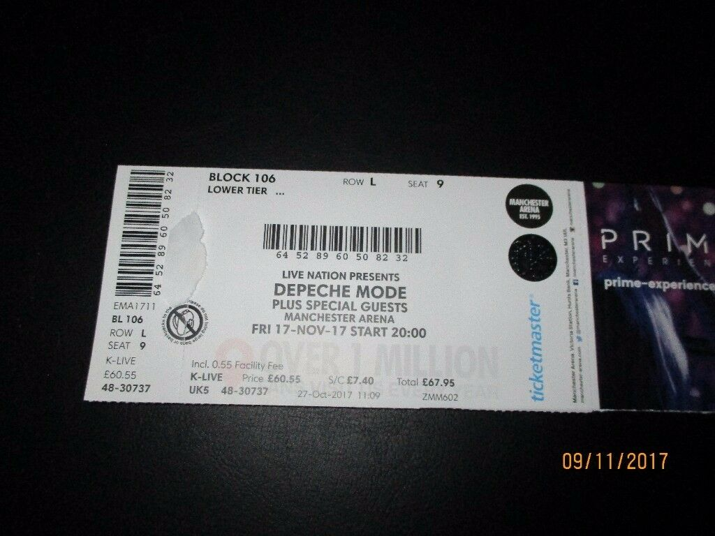 Depeche Mode ticket Manchester 17/11, lower tier block 106