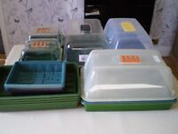 ASSORTMENT OF GARDEN CLOCHES AND SEED TRAYS