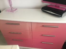 Pink 6 drawer gloss chest of drawers