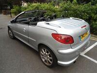 PEUGEOT 206 CONVERTIBLE=EXCELLENT CONDITION & DRIVES SPOT ON= LONG MOT & HPI CLEAR QUICK SALE £695