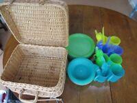 48 Piece Picnic set, in good condition + wicker basket