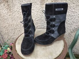 Josef Seibel Boots Wedge Heel- Size 4-Suede &Leather-Ankle-Black-£20