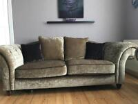 Crushed velvet sofa and large chair