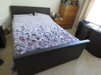 King size bed with 4 drawers. Faux leather padded head & footboard, v good condition