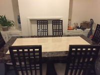 Magnificent Solid Marble 6 Seater Dining Table & Chairs