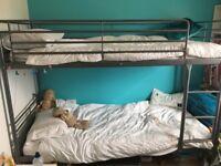Silver metal frame bunk bed