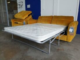 BRAND NEW YELLOW FABRIC / VELVET SOFA BED INCLUDING BRAND NEW MATTRESS ARMCHAIR & STORAGE FOOTSTOOL