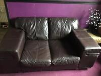 Brown leather 2seater settee Free