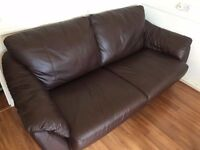Sofa bed 100% Leather brown- 3 seater