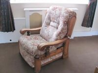 solid oak recliner chair very comfortable