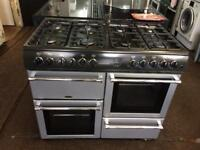Black & silver belling 100cm dual fuel cooker grill & double fan ovens with guarantee bargain