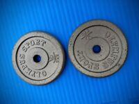 Olympus Sport 2x 5Kg Cast Iron Weight Plates Standard 1in Hole
