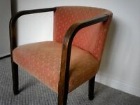 Antique Ladies Chair- Hand made in dark wood- upholstered in fleur de lys fabric
