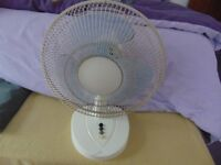Electric desktop rotating or static fan for sale.